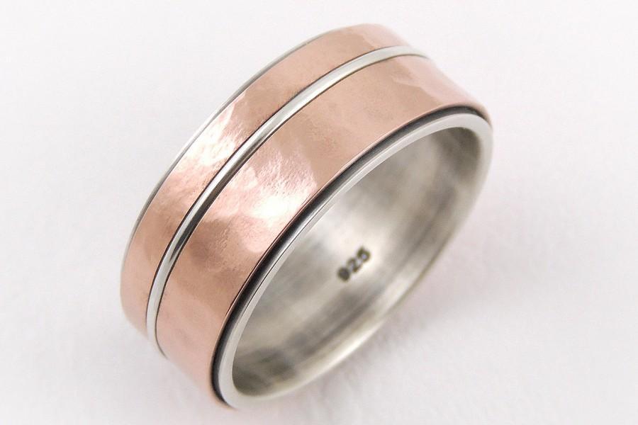 Hochzeit - Mens gold wedding ring - 14k gold ring,silver gold ring,yellow gold,rose gold,rustic ring,mens engagement ring,anniversary ring,mens ring