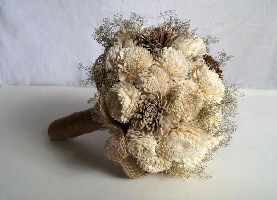 Свадьба - Wedding Bouquet, Bridal Bouquet, Rustic Bouquet, Woodland Sola Flower Bouquet, Handmade Bridal Bouquet, Romantic weddings, Keepsake Bouquet