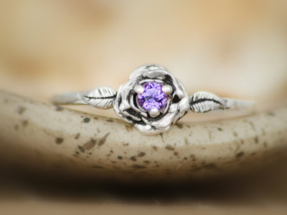 Hochzeit - Size 9.5 - Delicate Amethyst Rose Engagement Ring in Sterling - Silver Rose Promise Ring - February Birthstone Ring - Ready to Ship