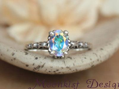 Mariage - Size 8.5 - Opalescent Topaz Filigree Engagement Ring - Sterling Silver Promise Ring - Bridal Ring - Color Change Stone - Ready to Ship