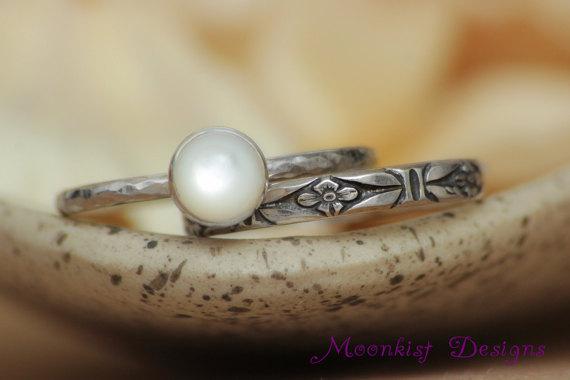زفاف - Size 6 - Art Deco Ring Set in Sterling - Silver Mother of Pearl Forget Me Not Ring Set - Floral Wedding Ring Set - Ready to Ship