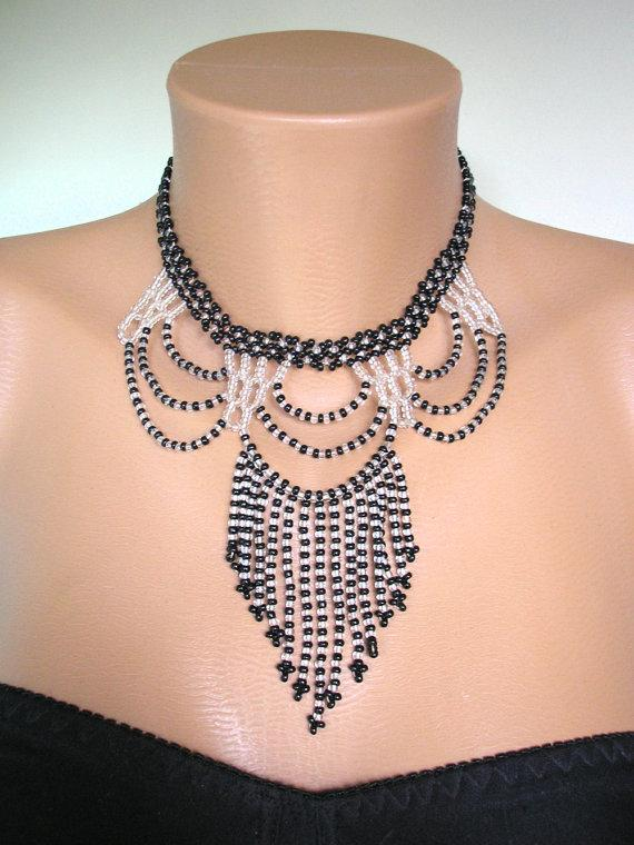 Hochzeit - Black and White Necklace, Art Deco Jewelry, Vintage Seed Bead Choker, Beaded Bib, Monochrome, Downton Abbey Jewelry, Black And White Beads