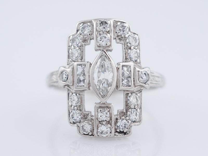 زفاف - Antique Right Hand Ring Edwardian .61cttw Old Cut Diamonds in Platinum