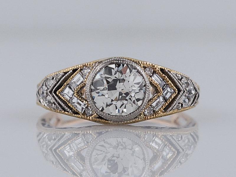 Wedding - Antique Engagement Ring Art Deco 1.19 Old European Cut Diamond in Platinum & 18k Yellow Gold