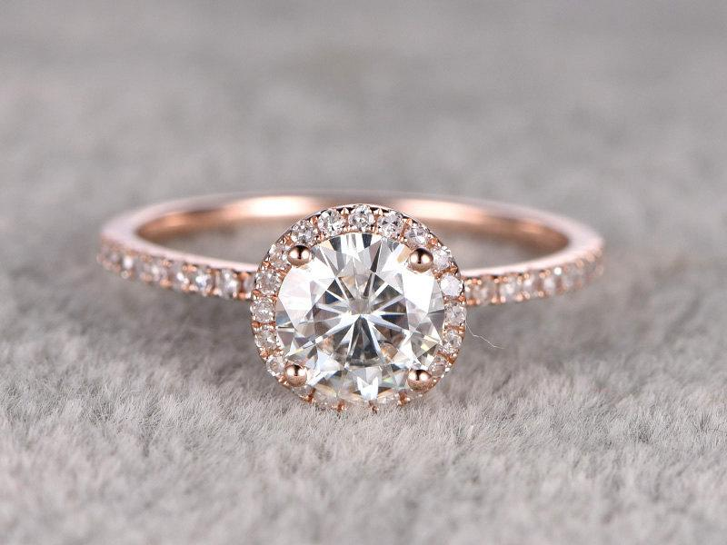 Mariage - 1.25ct brilliant Moissanite Engagement ring Rose gold,Diamond wedding band,14k,7mm Round Cut,Gemstone Promise Bridal Ring,Halo,Anniversary