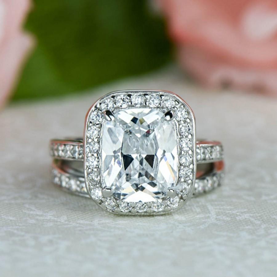 Wedding - 60% off 4 ctw Emerald, Radiant Halo Wedding Set, Half Eternity Engagement Ring, Man Made Diamond Simulants, Sterling Silver, Pave Bridal Set