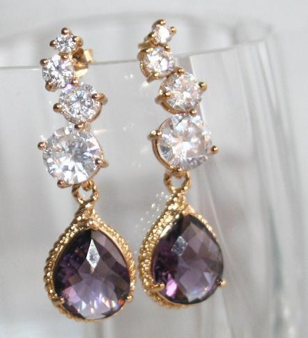Hochzeit - Amethyst Statement earrings,Purple Jewelry, Bridal Purple Rhinestone Earrings,Luxury Purple Rhinestone Earrings,Purple bridal earing