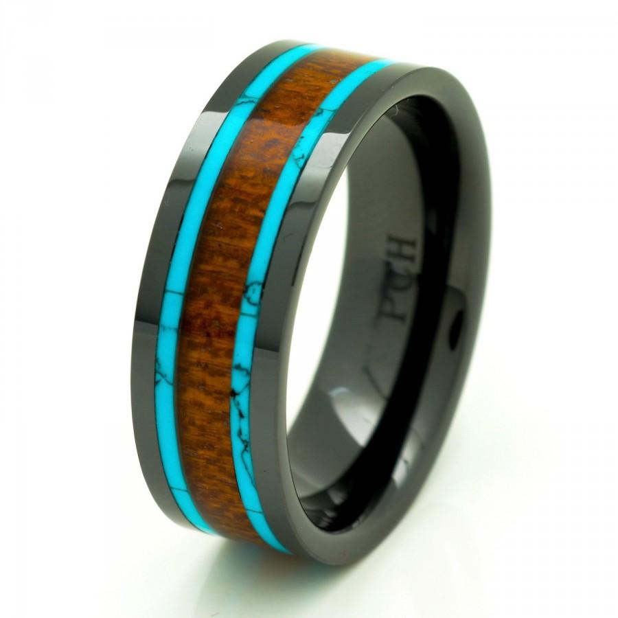 Men39s women39s koa wood wedding band with turquoise 8mm for Mens turquoise wedding rings