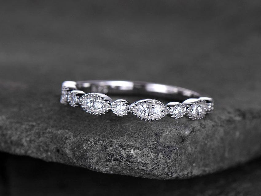 Hochzeit - Sterling silver ring for women/Cubic Zirconia wedding band/CZ wedding ring/stackable ring/Matching band/Xmas gift/Can custom set stone QTY