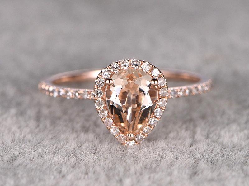 زفاف - 1.2ctw Pear Cut Morganite Engagement ring Rose gold,Diamond wedding band,14k,Pear Shaped,Gemstone Promise Bridal Ring,Halo,Prongs,Pave Set