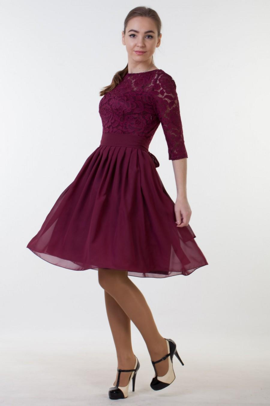 Short Burgundy Dress With Sleeves Burgundy Bridesmaid Dress With ...