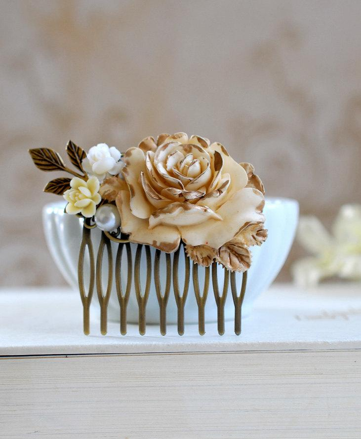 Mariage - Bridal Hair Comb Gold Ivory Rose Shabby Chic Ivory Flower Antique Gold Leaf Country Wedding Rustic Wedding Hairpiece Bridal headpiece