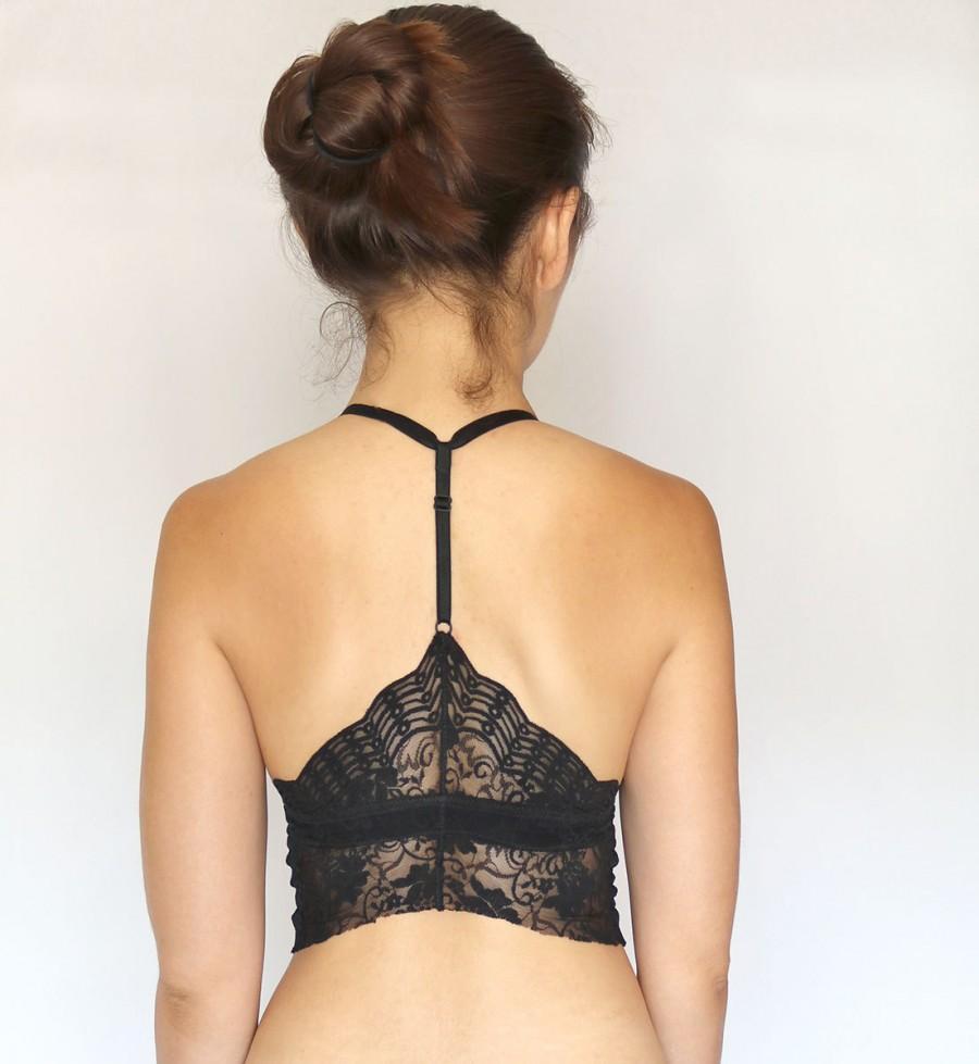 Hochzeit - Lace Bralette. Black Lace Bralette. Racer Back Bralette. Lingerie. Red Lace Bralette