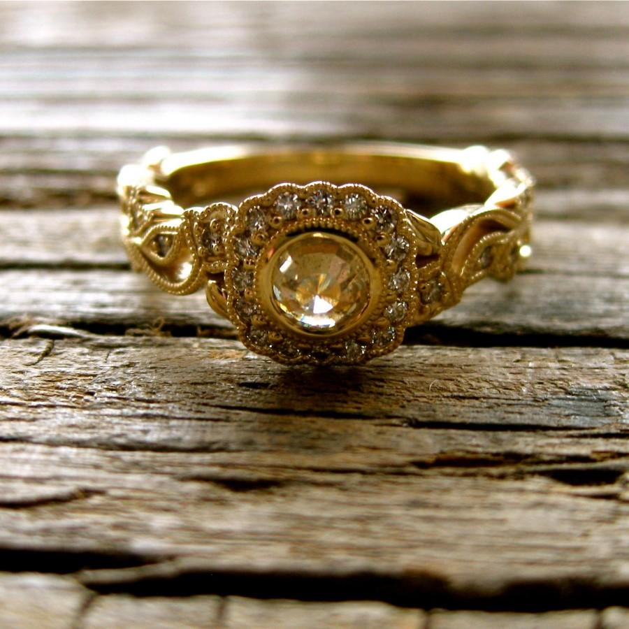 Wedding - Rose Cut Brown Diamond Engagement Ring in 14K Yellow Gold with Flowers and Leafs on Vine Motif Size 6