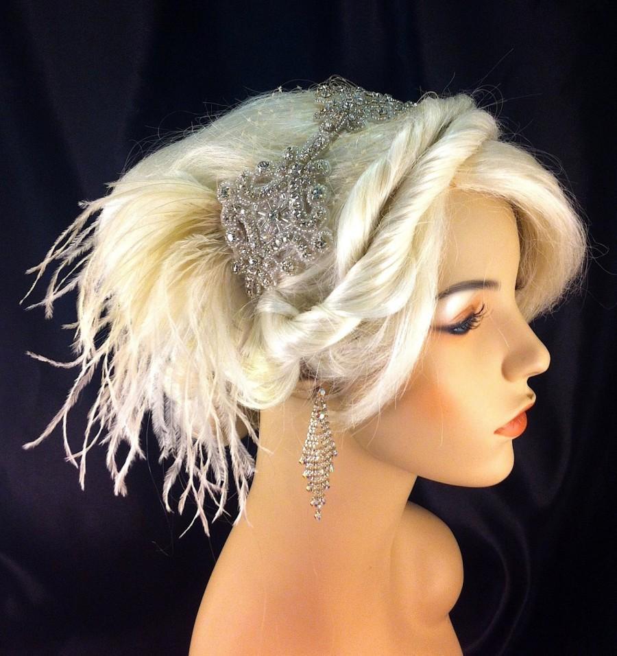 زفاف - Gatsby Wedding, Wedding Headband, Wedding Hair Accessory , Bridal Hair Accessory, Rhinestone Headband, Hollywood Royalty, Champagne