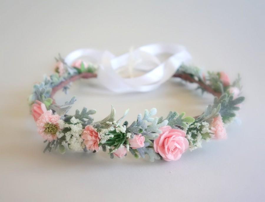 Свадьба - Pink Flower Crown, Flower Girl Crown, Flower Crown, Boho Wedding, Head Wreath, Pink Wedding, Bridal Headdress, Summer Wedding