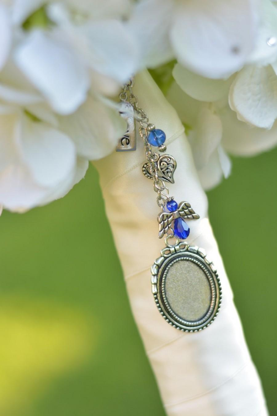 Свадьба - Something Blue Bouquet Picture Charm - Bridal Bouquet Charm -Wedding Bouquet Photo Charm - Something Blue - Bridal Gift - Bouquet Charm