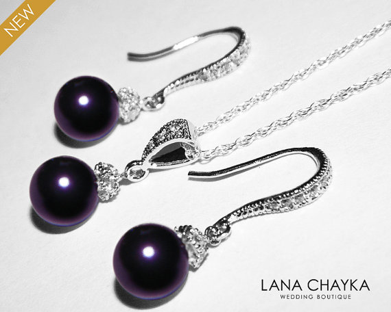 Mariage - Dark Purple Pearl Earrings Necklace Set STERLING SILVER Plum Pearl Set Swarovski 8mm Pearl Necklace&Earrings Set Wedding Purple Pearl Set