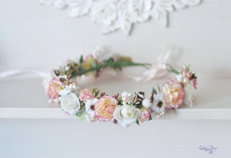 Hochzeit - Peach pink Carnation wedding flower crown white roses hair wreath Bridal flower halo Peach white Boho girl flower crown Gentle headpiece