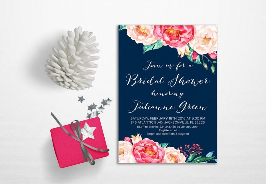 Hochzeit - Navy Bridal Shower Invitation pink Floral Bridal Shower Invitation Printable, Spring Summer Bridal Shower Invitation Boho, Peony Invitation