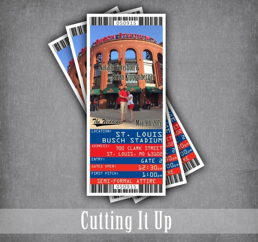 Hochzeit - Baseball Wedding Ticket Invitations, Baseball RSVP Ticket Stub, Sports Wedding, MLB Baseball Ticket, Red and Blue, St Louis Cardinals, Busch
