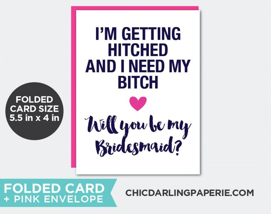 Hochzeit - PRINTED Funny Bridesmaid Card, Funny Bridesmaid Invitation, Folded Bridesmaid Card with Envelope, Funny Maid of Honor Card