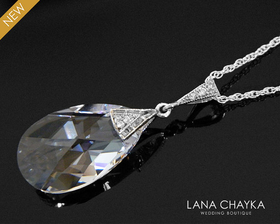 Свадьба - Crystal Teardrop Silver Necklace Swarovski 22mm Clear Crystal Necklace Wedding Crystal Jewelry Bridal Crystal Necklace Clear Crystal Pendant