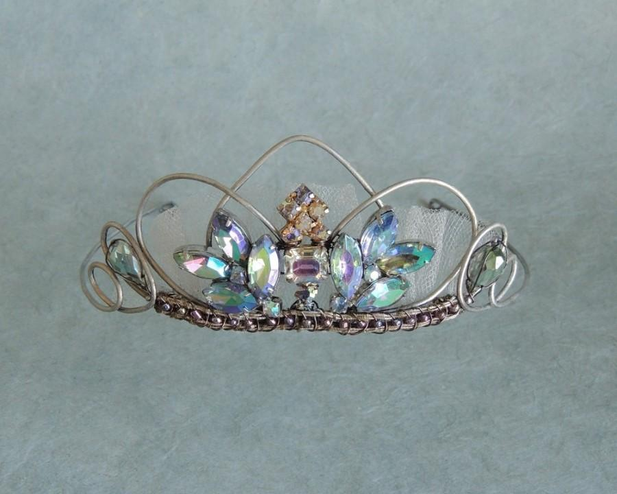 Свадьба - Blue Aurora Borealis Wedding Tiara Crown, Wedding Hair Accessories, Art Deco Headband Crown, Bohemian Wreath Crown, Bridal Tiara Headpiece