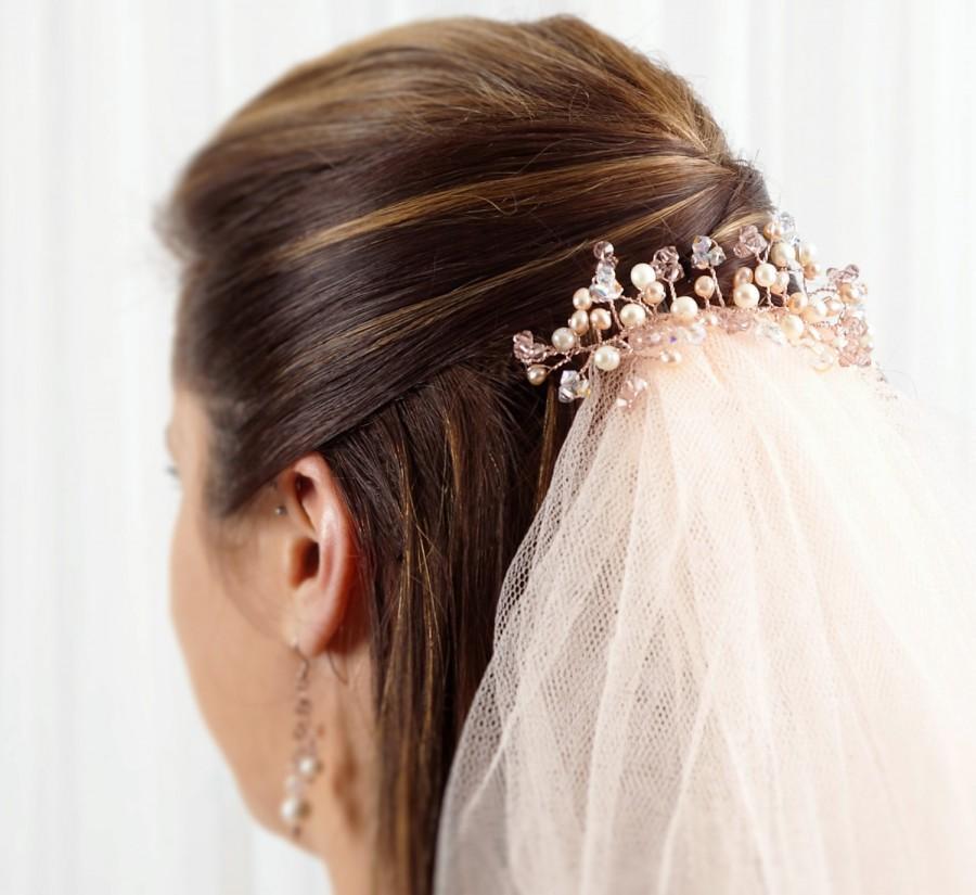 Свадьба - Vintage Rose Gold Hair Vine with Swarovski Crystals