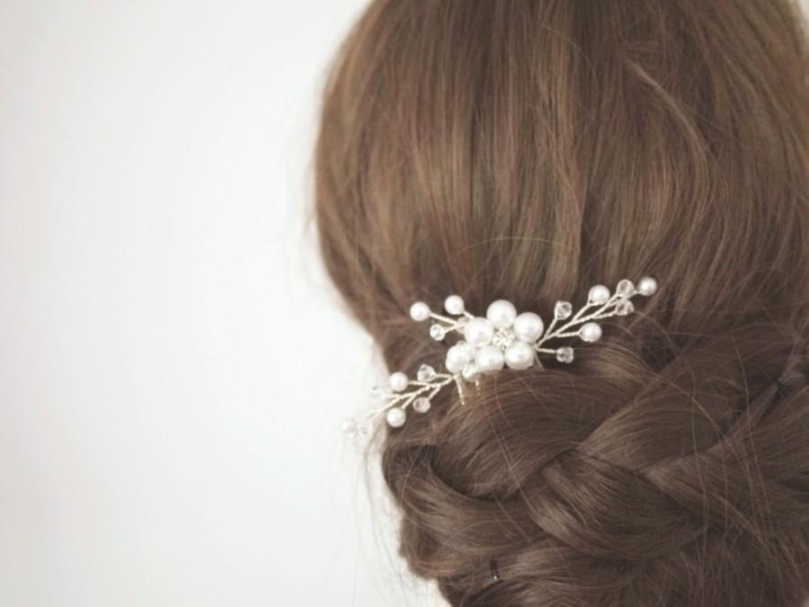 Свадьба - Silver Bridal Hair Pin Pearl Hair Pin Beaded Hair Comb Crystal Hair Comb Bridal Headpiece Bridal Bobby Pin Bridal Hair Comb #48