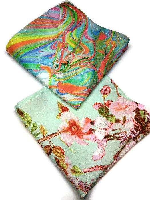 Wedding - Set of 2 lovely pocket squares Rainbow pocket Sakura hanky Men's gift ideas For him accessories Kawaii pocket squares Husband's gift ghtiyua
