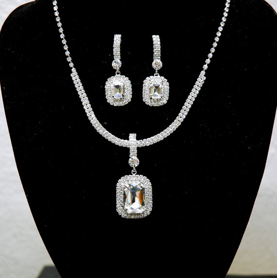 Wedding - Wedding Rhinestone Choker Necklace, Bridal Crystal Necklace Set, Wedding Accessories, Bridal Earrings