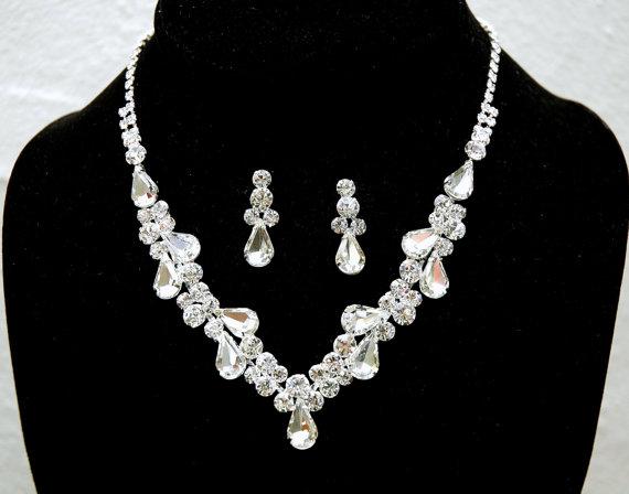 Wedding - Teardrop Rhinestone Bridal Necklace, Crystal Wedding Jewelry Set, Silver Crystal Wedding Necklace, Wedding Accessories
