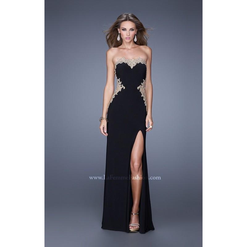 be3b5eddf40 Black Gold La Femme 20855 - High Slit Jersey Knit Lace Dress - Customize  Your Prom Dress