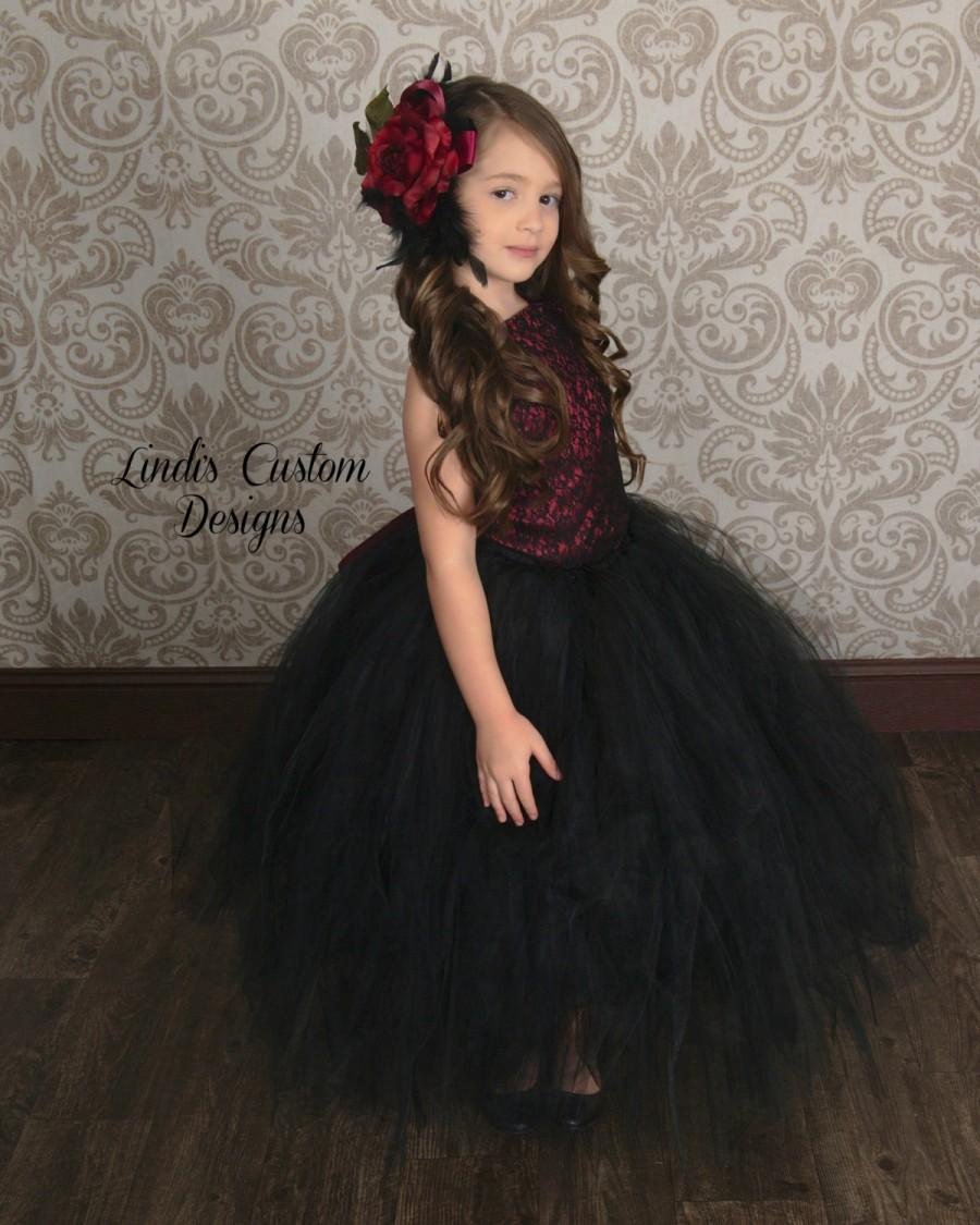 471328c0355 Burgundy Black Flower Girl Tutu Set For Weddings
