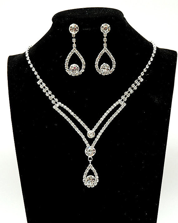 Wedding - Art Deco Bridal Necklace, Wedding Jewelry Set, Rhinestone Crystal Necklace and Earrings, Wedding Accessories