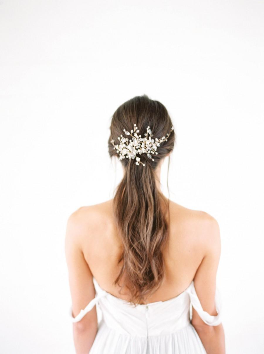 Свадьба - Gold crystal Bridal Headpiece, Wedding Hair Vine, Bridal Hair Piece, Silver Crystal beaded head piece, Gold Wedding Hair Accessories