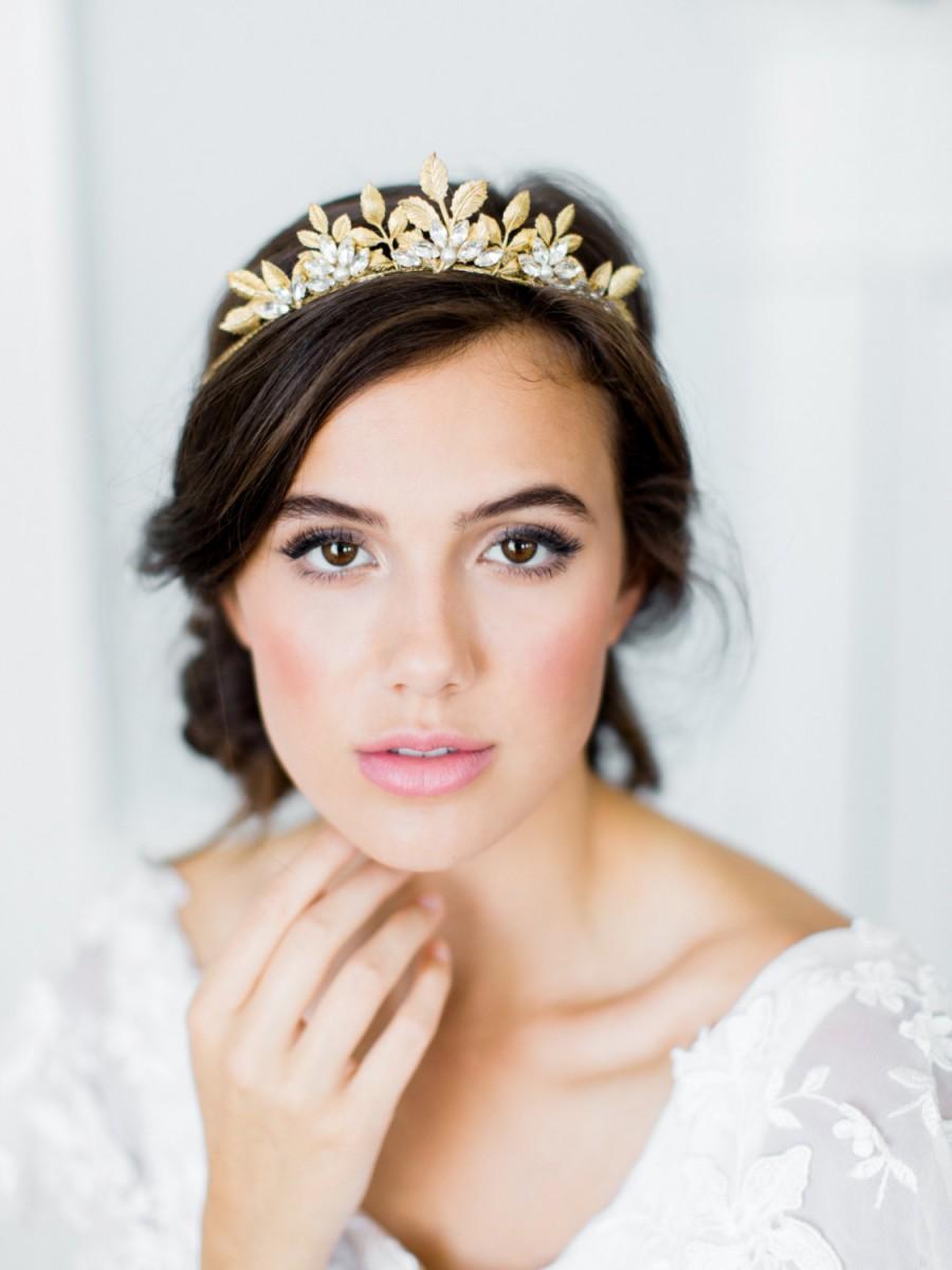 Свадьба - CAMELLIA bohemian bridal tiara, romantic gold wedding crown, boho headpiece with leaves and crystals