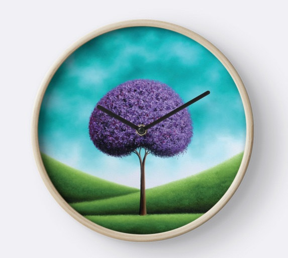 Hochzeit - Tree Wall Clock, Teal Wood Framed Clock, Purple Tree Art Circle Clock, Turquoise Decor, Modern Clock for Wall, Circular Cottage Chic Clock