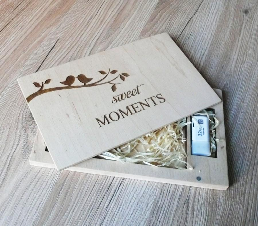 Wedding - Sweet Moments Wood Photo Box 4''x6''(10x15 cm) on Magnets Valentines Day Gift For Him Gift For Her Keepsake Box Anniversary Gift For Husband