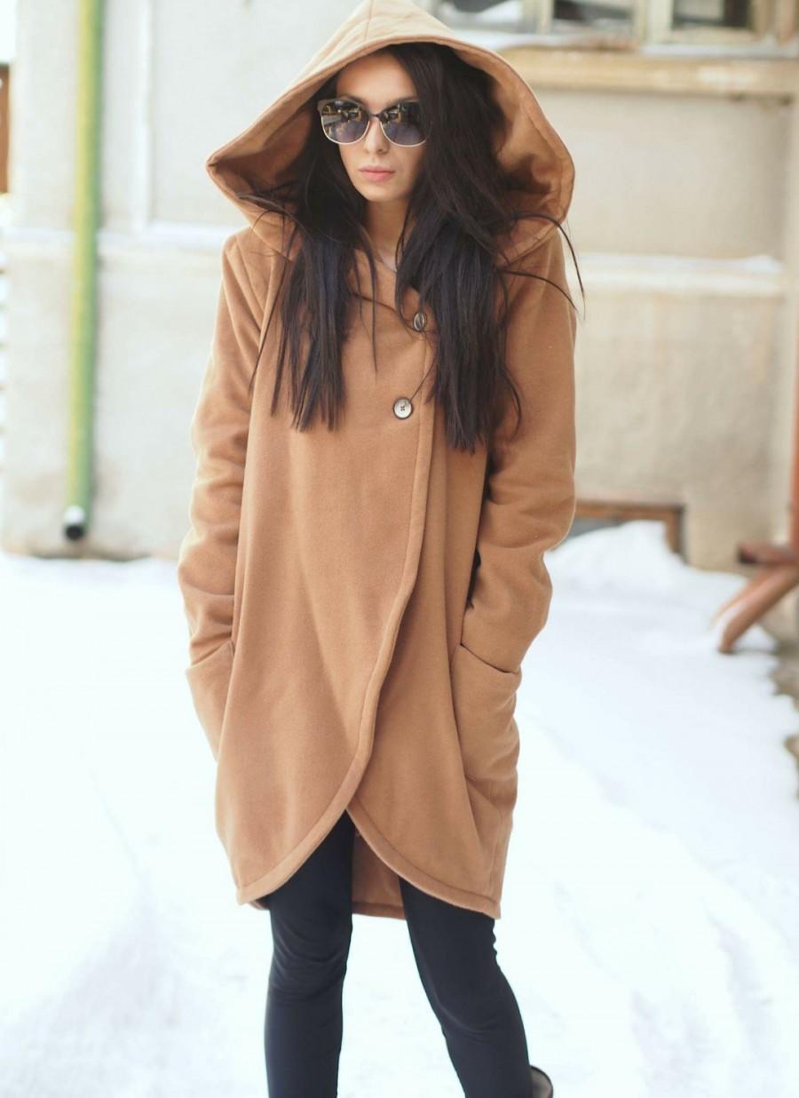 Wedding - Asymmetric cashmeere coat/extravagant beige cashmeere coat/maxi cashmeere coat with side pockets and hood
