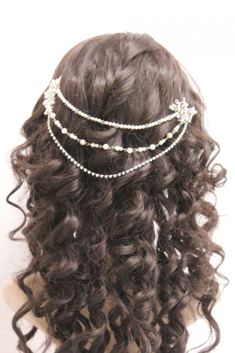 Свадьба - Wedding hair jewelry pearl Bridal hair chain vintage Wedding hair accessory headpiece Bridal hair comb pearl Wedding hair chain accessory
