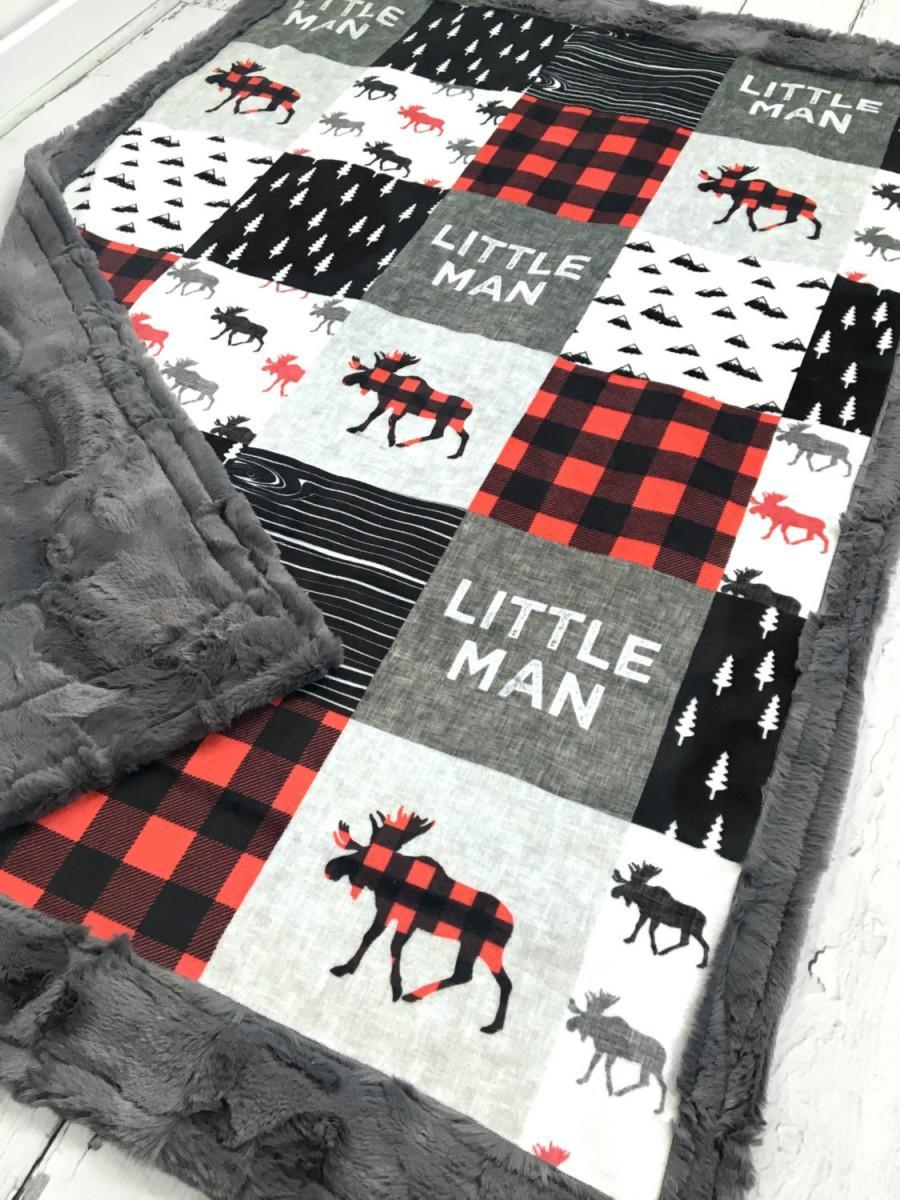 Wedding - Little Man Minky Blanket - Designer Minky - Grey