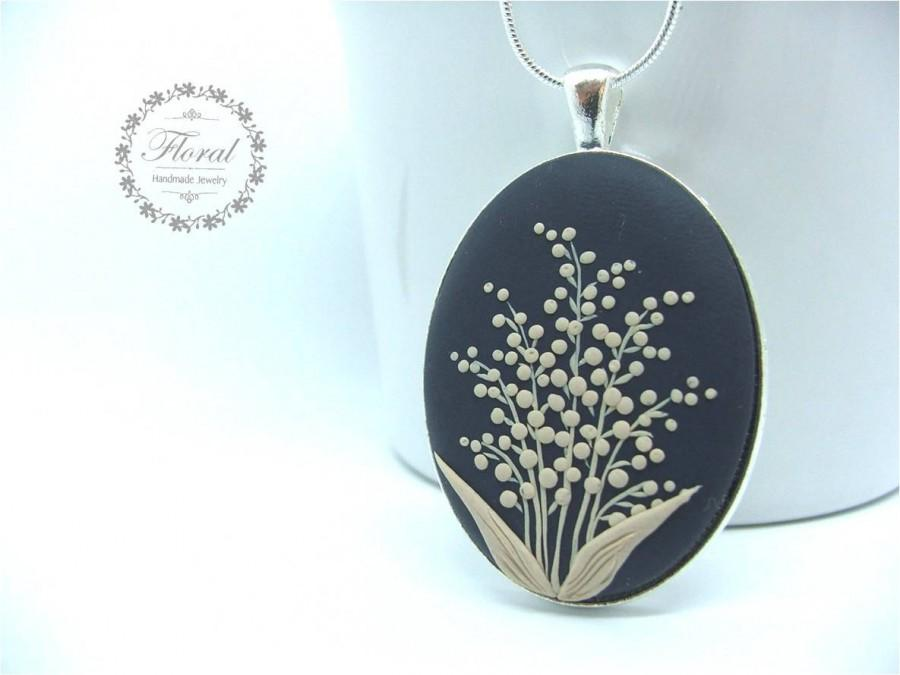 Wedding - Lily of the Valley Necklace- Woodland Birthday Gift- Romantic Wife Gift- Romantic Jewelry for Her- Valentines Gift for Wife, for Mom
