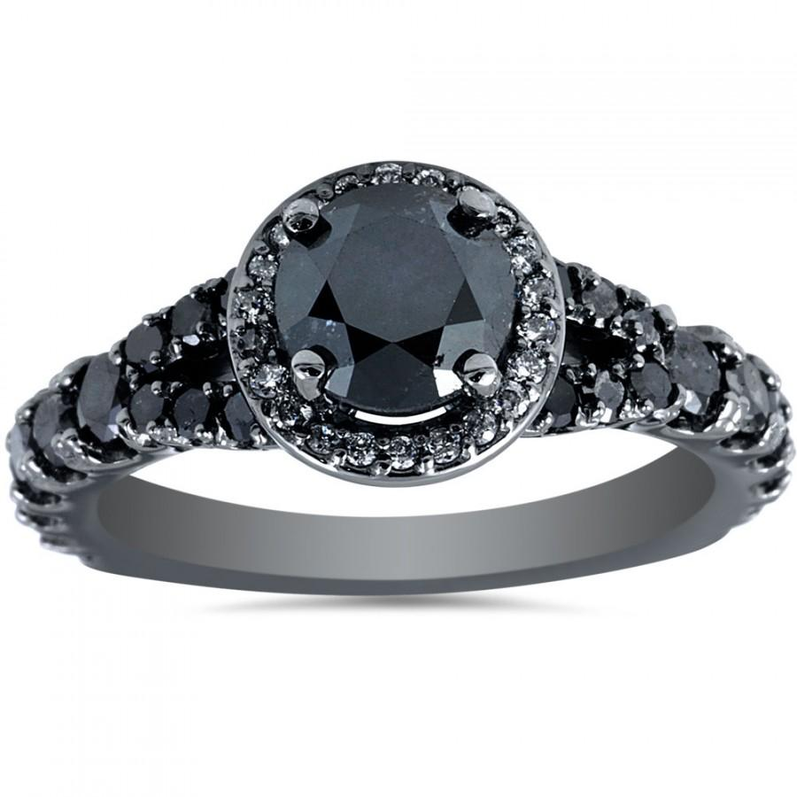 Wedding - Black Diamond Engagement Ring, Black Diamond Halo 1.80cttw Black Diamond Halo Engagement Ring Split Shank Pave Style 14K Black Gold Size 4-9