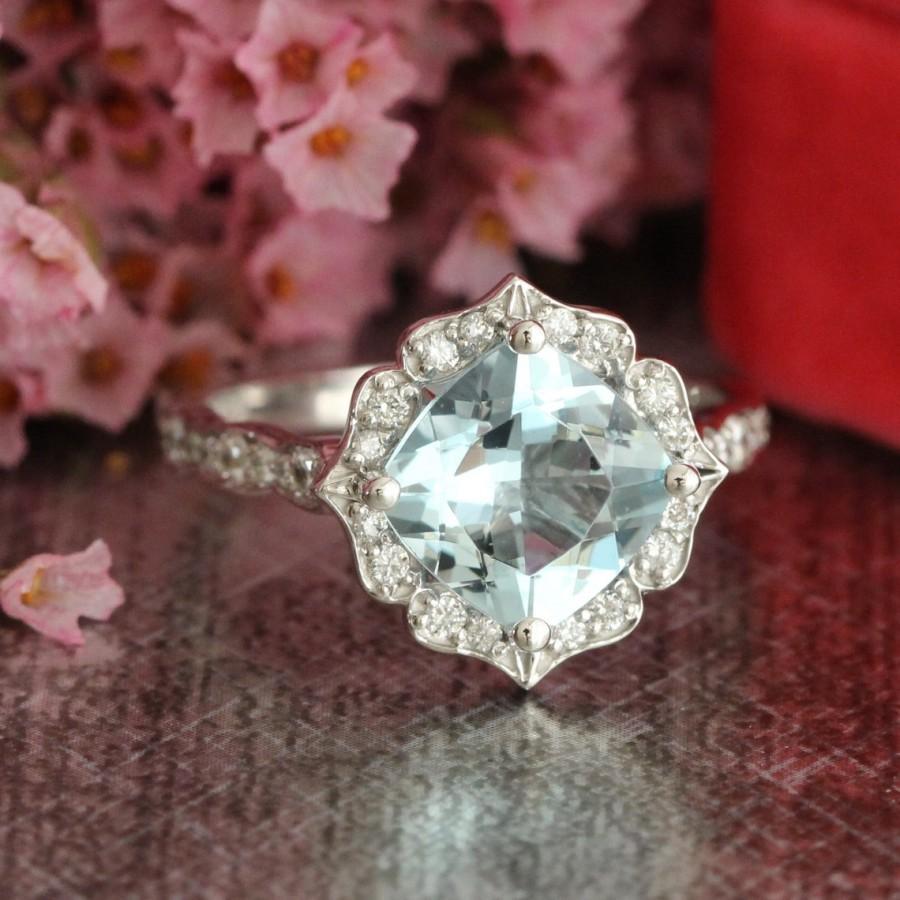 Wedding - 14k White Gold Aquamarine Engagement Ring in Scalloped Diamond Wedding Band 8x8mm Cushion Cut Gemstone Vintage Floral Ring March Birthstone