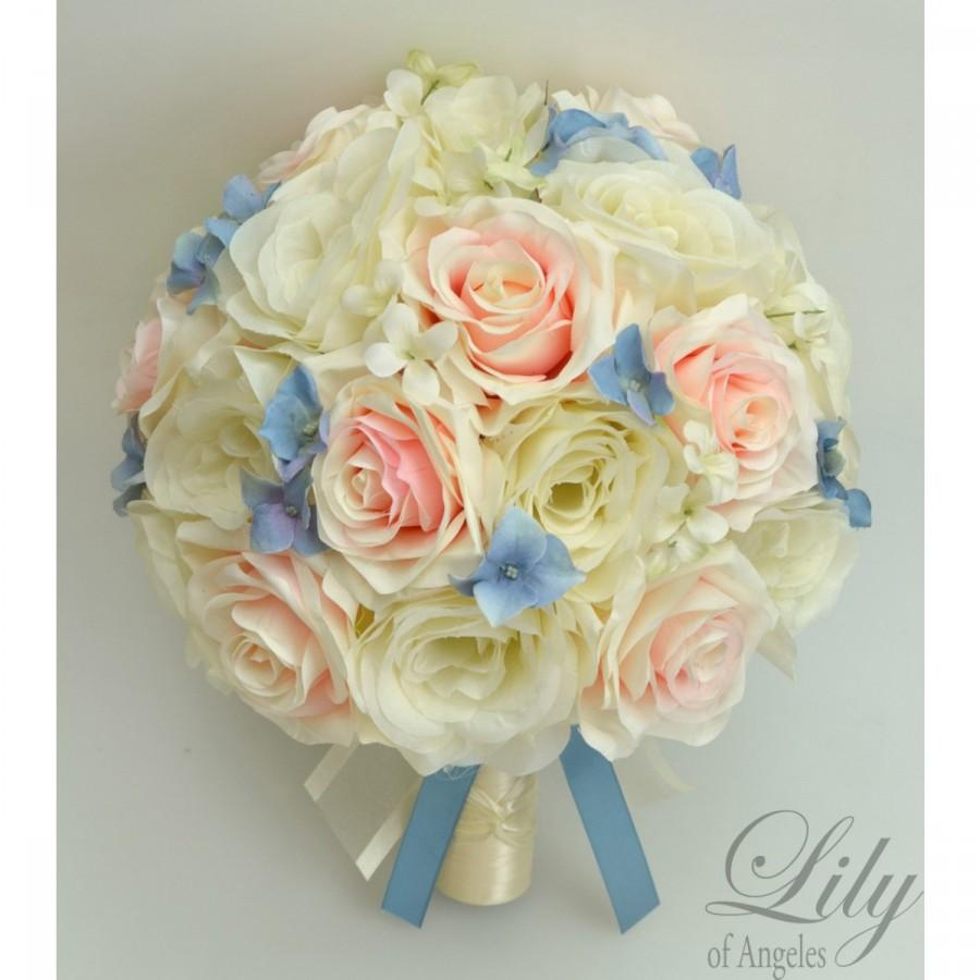 """Свадьба - 17 Piece Package Wedding Bridal Bride Maid Of Honor Bridesmaid Bouquet Boutonniere Corsage Silk PINK/PEACH Blue """"Lily Of Angeles"""" VIBL01"""