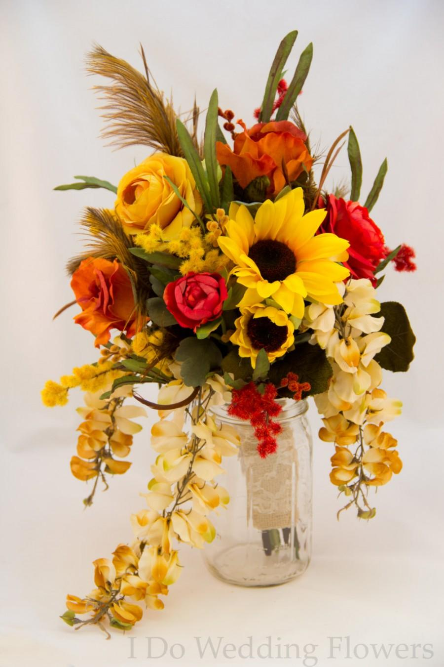 Hochzeit - Bridal bouquet, Country wedding, Sunflower and roses with burlap, Rustic Fall wedding bouquet, Ready to ship or can be made to order