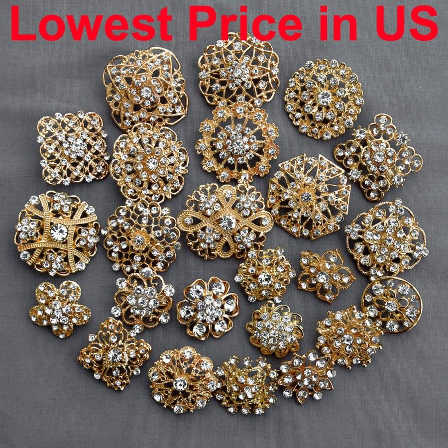 24 Pcs Gold Rhinestone Brooch Crystal Brooches Wedding Invitation Cake Decoration Bouquet Kit Wholesale Lot Br680: Wedding Invitations With Rhinestones At Reisefeber.org