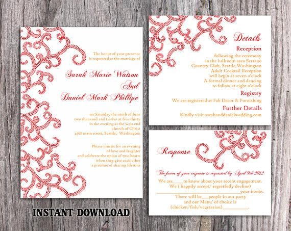 Свадьба - DIY Bollywood Wedding Invitation Template Set Editable Word File Instant Download Printable Red Invitation Indian invitation Bollywood party